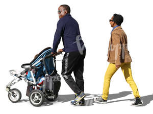 black couple with a baby carriage walking