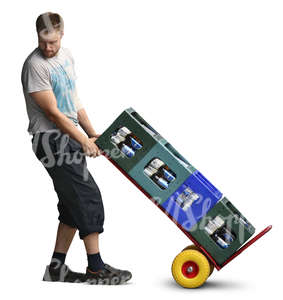 man pulling a pallet truck loaded with bottles