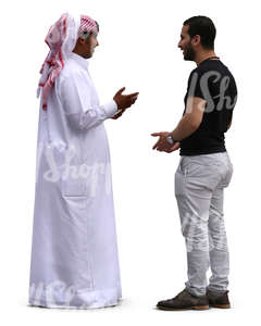 two arab men standing and talking