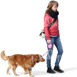 cut out teenage girl walking a dog
