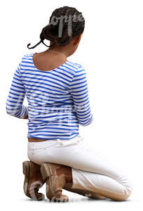 young black girl kneeling on the ground