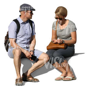 man and woman sitting together on a bench
