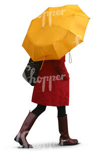 woman with a yellow umbrella walking in the rain
