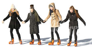 four girls skating together