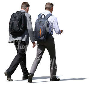 two businessmen with backpacks walking and talking