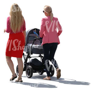 two women walking with a baby carriage