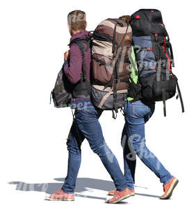 man and woman with huge backpacks walking side by side