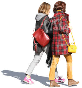 two women wearing colourful autumnn coats walking together