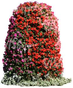 cut out tower of reddish flowers