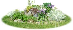 small flowerbed with different flowers