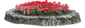 round red flowerbed with stone edging