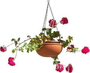 cut out hanging basket with pink flowers
