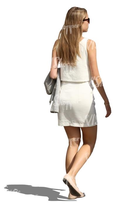 Woman in a modern white dress walking cut out people vishopper