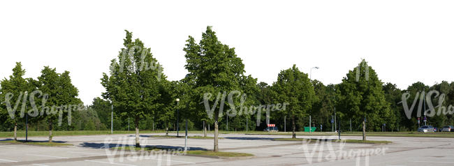 cut out background with a parking lot and trees