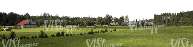 Cut out image of a countryside with houses and trees