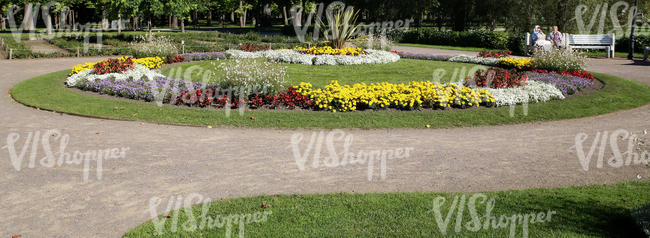 park ground with formal flowerbeds