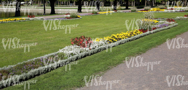 park with flowerbeds