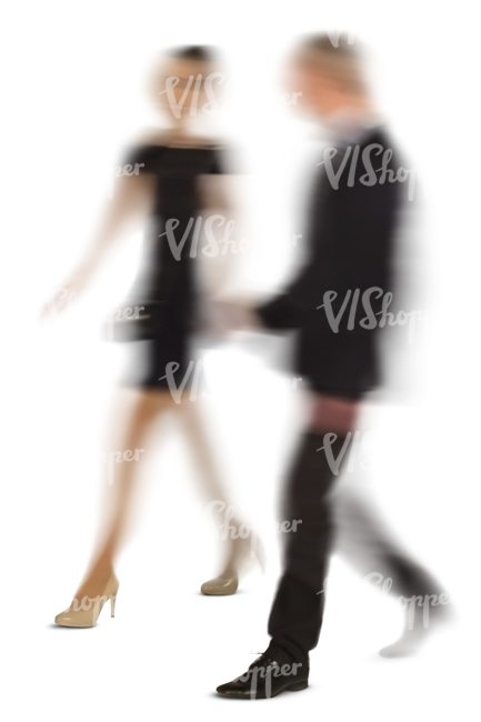 cut out motion blur image of a man and woman walking