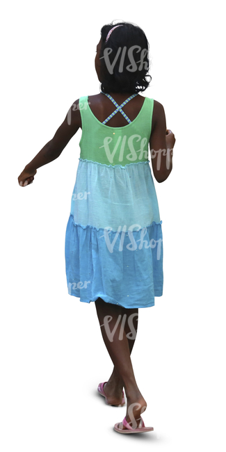 young black girl in a summer dress walking