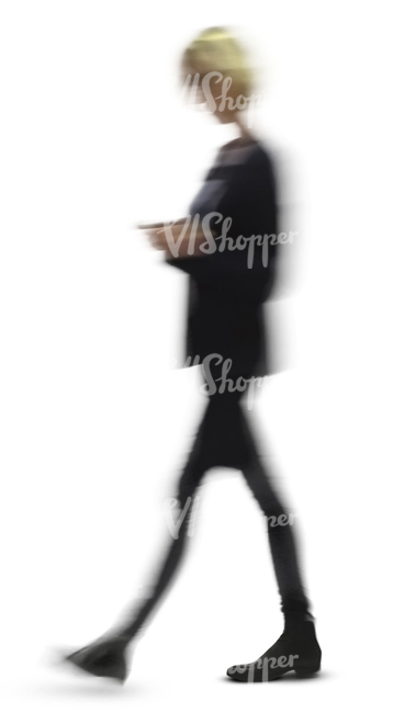 cut out motion blur image of a woman walking in the office