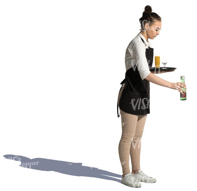 Young Waitress Putting Drinks On The Table Cut Out