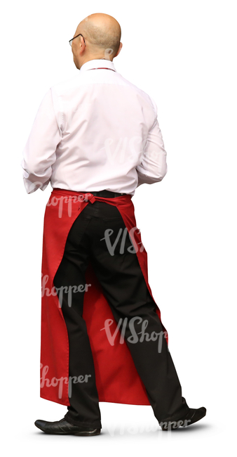 male waiter with a red apron standing