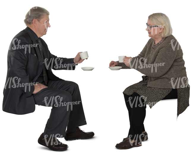 elderly couple sitting in a cafe and drinking coffee