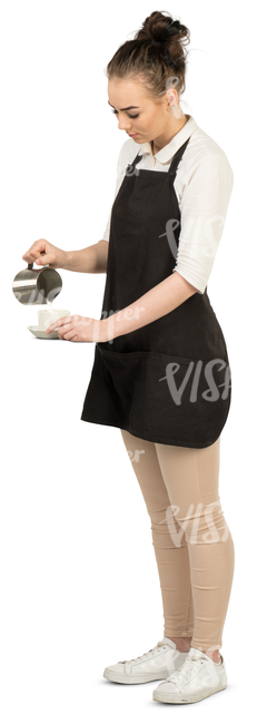 young waitress standing and preparing coffee