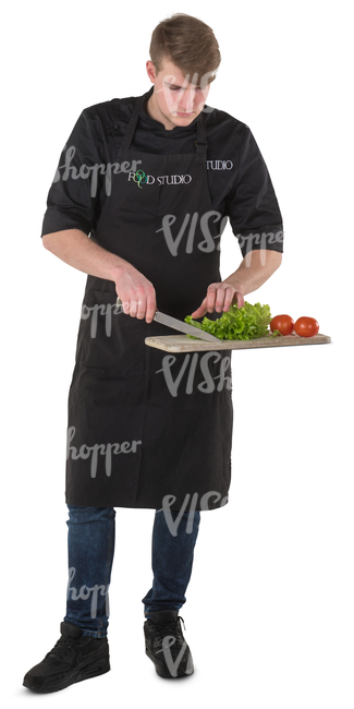 young chef cutting vegetables