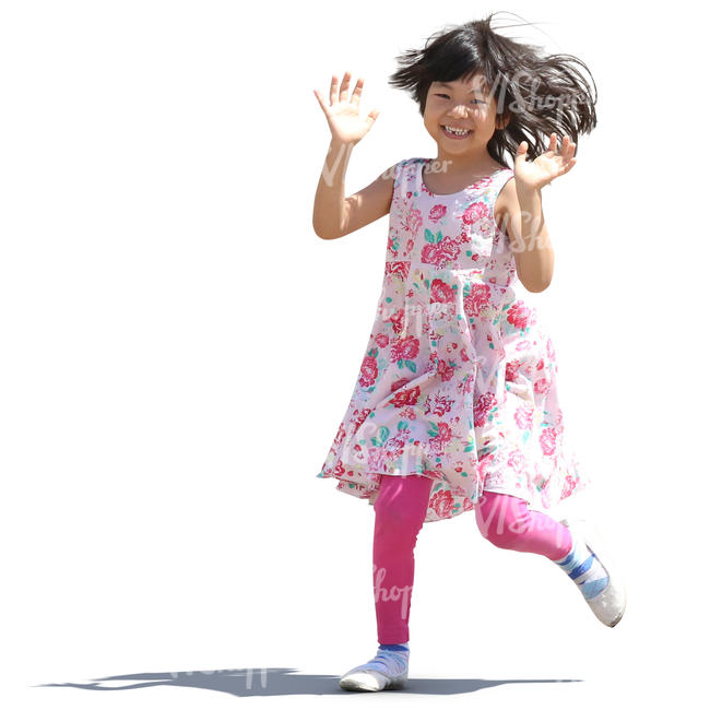 little asian girl in a pink dress running and laughing