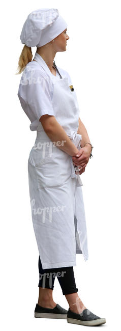 waitress in a white uniform standing