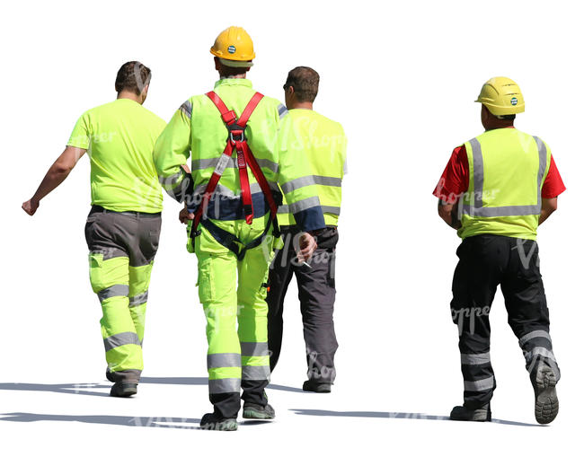 group of construction workers walking
