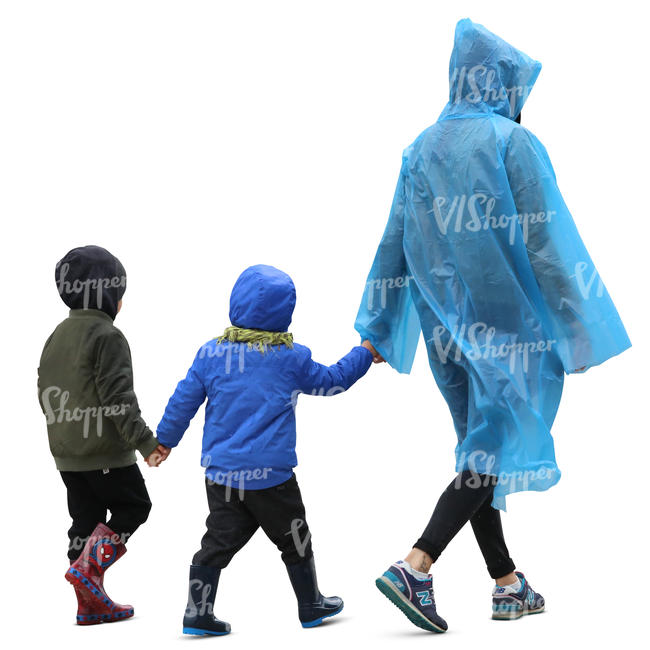mother and two children walking in rain