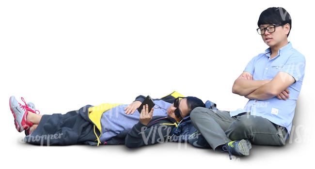 asian couple sitting and relaxing
