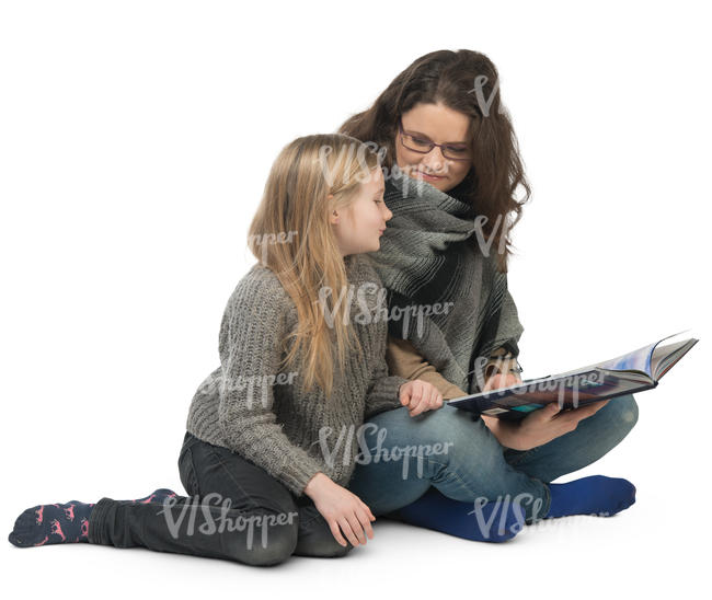 mother and daughter sitting and reading a book