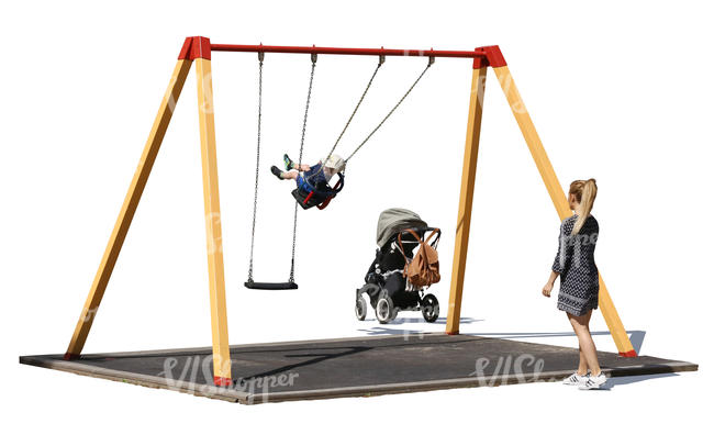 cut out playground with a child sitting on a swing