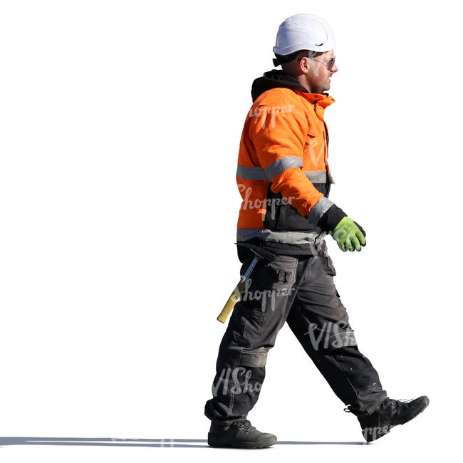 Construction Worker With A Helmet Walking Cut Out People