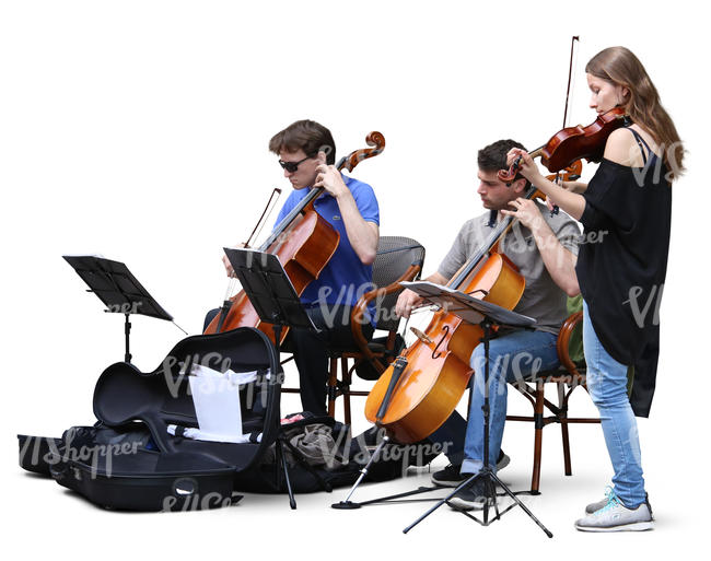 three musicians playing classical instruments