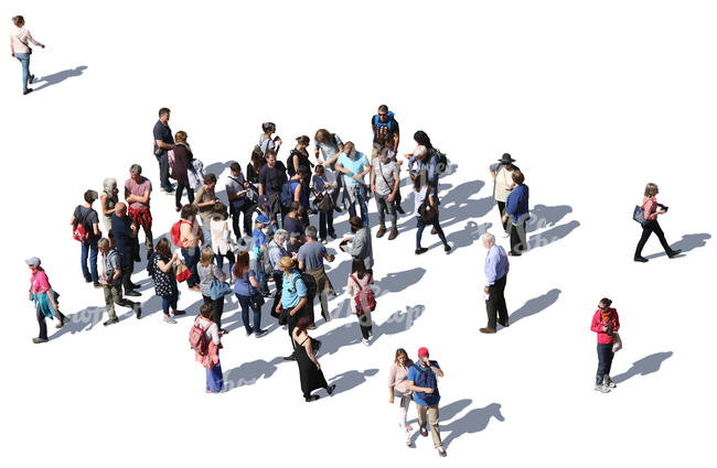 large group of people standing and walking seen from above