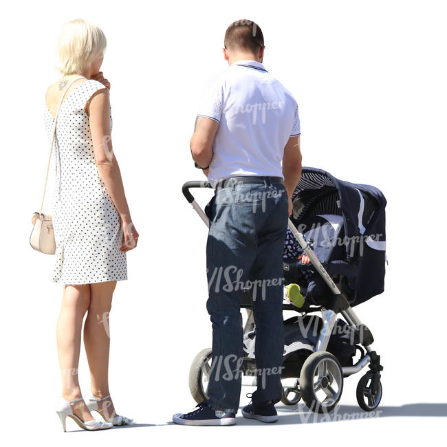 couple with a stroller standing
