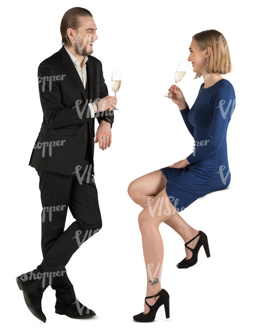 man and woman drinking champagne at a bar counter