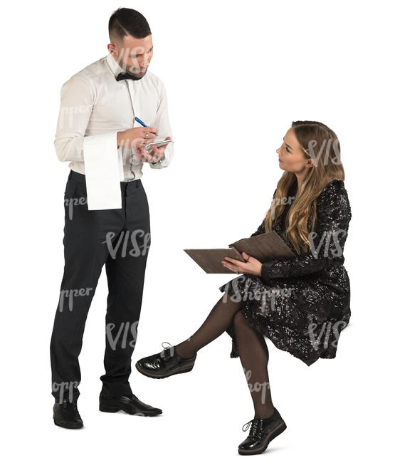 waiter taking an order from a woman in a fancy dress