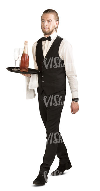 waiter carrying a tray