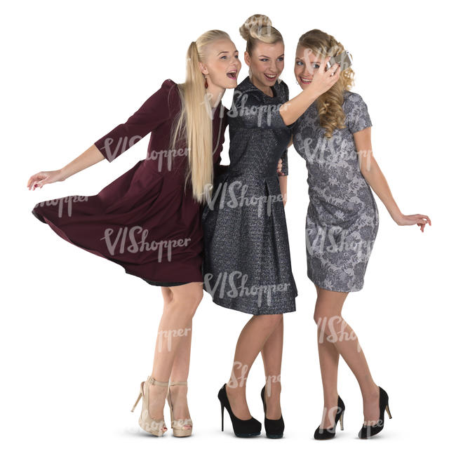 three women in fancy party dresses taking a selfie