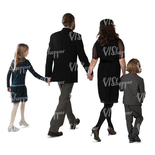 family of four walking hand in hand
