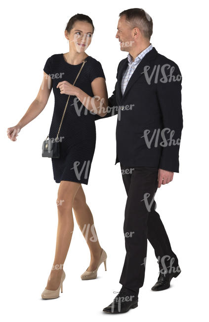 couple in formal outfit walking and talking
