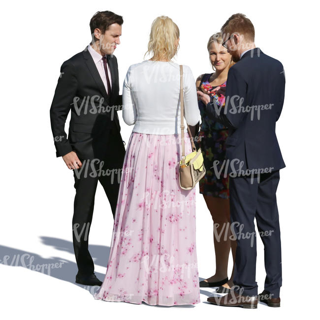 group of four people in fancy clothes standing