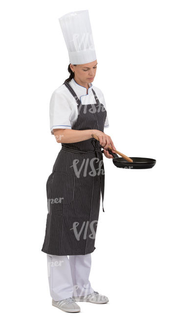 female chef standing with a frying pan