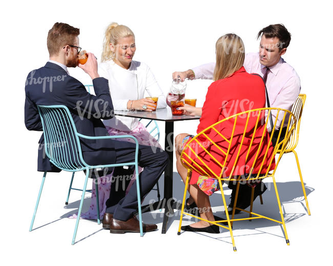 four people sitting in a cafe