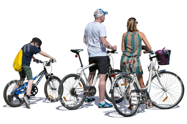 family with bicycles standing